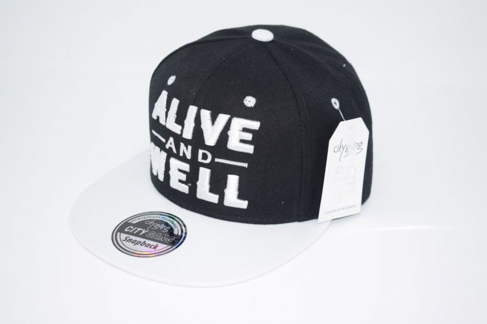 C4885- 'ALIVE AND WELL' Black/White Snapback Cap one size fits all adjustable